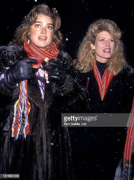 Actress Brooke Shields and secretary Fawn Hall attend Second Annual Pepsi Celebrity Ski Invitational and Quebec Winter Carnival Weekend on February 5...