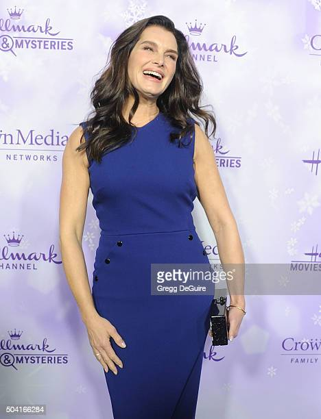 Actress Brooke Shields arrives at the Hallmark Channel and Hallmark Movies and Mysteries Winter 2016 TCA Press Tour at Tournament House on January 8...