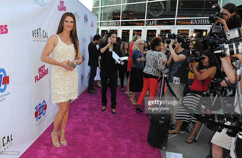 Actress Brooke Shields arrives at the premiere of 'The Hot Flashes' at ArcLight Cinemas on June 27, 2013 in Hollywood, California.