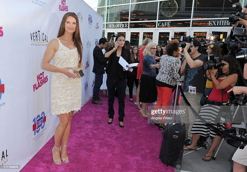 Actress <a gi-track='captionPersonalityLinkClicked' href=/galleries/search?phrase=Brooke+Shields&family=editorial&specificpeople=202197 ng-click='$event.stopPropagation()'>Brooke Shields</a> arrives at the premiere of 'The Hot Flashes' at ArcLight Cinemas on June 27, 2013 in Hollywood, California.