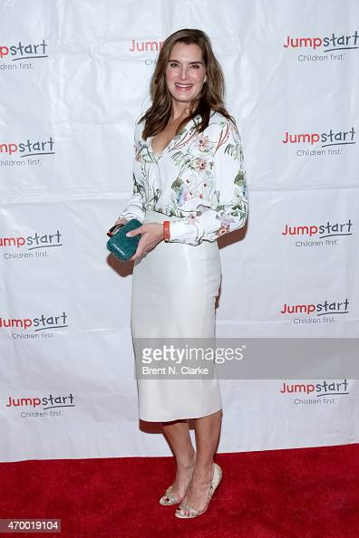 Actress Brooke Shields arrives for the Scribbles To Novels 10th Anniversary Gala held at Pier Sixty at Chelsea Piers on April 16 2015 in New York City
