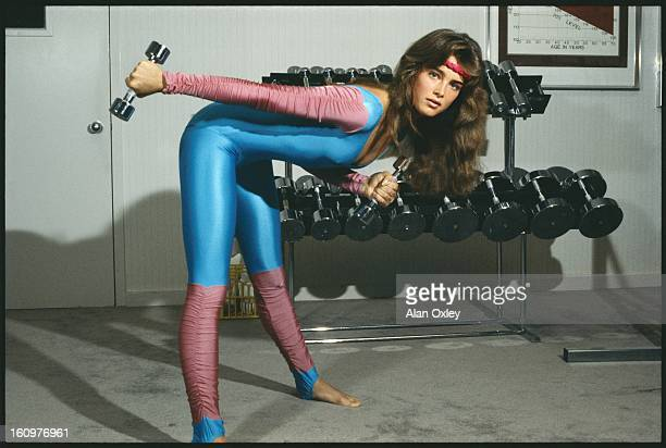 Actress Brooke Shields at age 18 working out at a health spa while on a Florida vacation in July 1983
