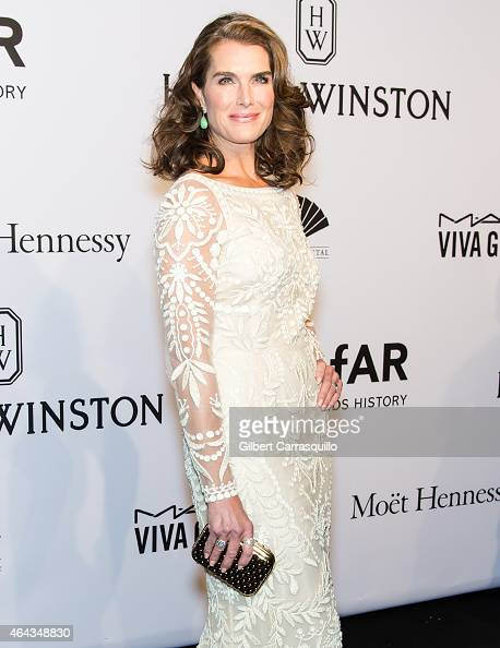 Actress Brooke Shields attends the 2015 amfAR New York Gala at Cipriani Wall Street on February 11 2015 in New York City