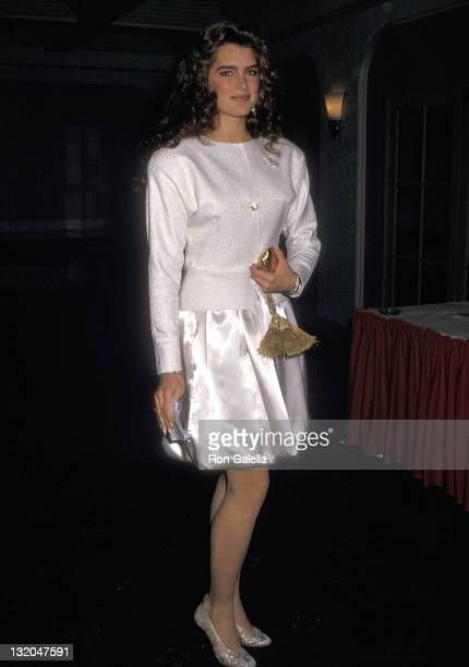 Actress Brooke Shields attends the American Museum of the Moving Image Salute to James Stewart on February 25 1988 at the WaldorfAstoria Hotel in New...