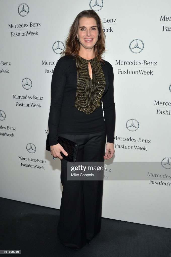 Actress <a gi-track='captionPersonalityLinkClicked' href=/galleries/search?phrase=Brooke+Shields&family=editorial&specificpeople=202197 ng-click='$event.stopPropagation()'>Brooke Shields</a> attends the Mercedes-Benz Star Lounge during Mercedes-Benz Fashion Week Fall 2013 at Lincoln Center on February 12, 2013 in New York City.