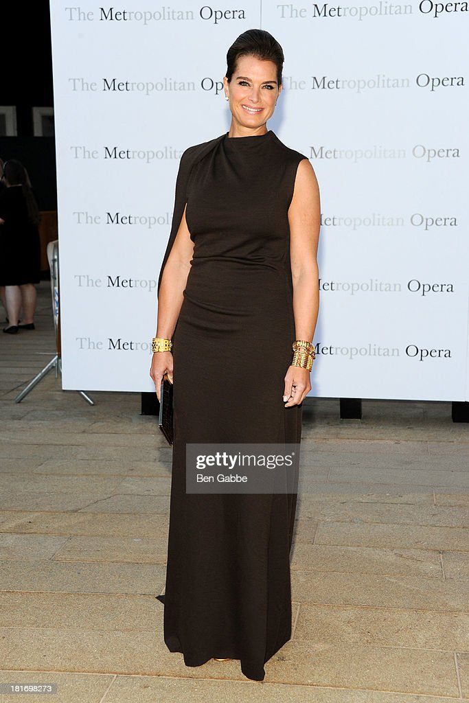 Actress <a gi-track='captionPersonalityLinkClicked' href=/galleries/search?phrase=Brooke+Shields&family=editorial&specificpeople=202197 ng-click='$event.stopPropagation()'>Brooke Shields</a> attends the Metropolitan Opera season opening production of 'Eugene Onegin' at The Metropolitan Opera House on September 23, 2013 in New York City.