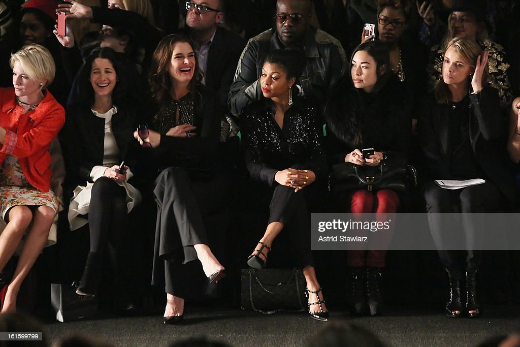 Actress <a gi-track='captionPersonalityLinkClicked' href=/galleries/search?phrase=Brooke+Shields&family=editorial&specificpeople=202197 ng-click='$event.stopPropagation()'>Brooke Shields</a> attends the Naeem Khan Fall 2013 fashion show during Mercedes-Benz Fashion Week at The Theatre at Lincoln Center on February 12, 2013 in New York City.