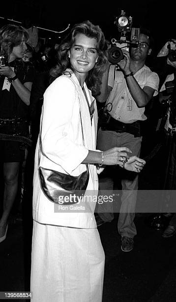 Actress Brooke Shields attends the premiere of 'Stayin Alive' on July 11 1983 at Mann Chinese Theater in Hollywood California