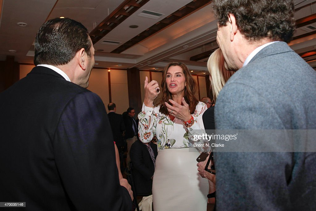 Actress Brooke Shields (C) attends the Scribbles To Novels 10th Anniversary Gala held at Pier Sixty at Chelsea Piers on April 16, 2015 in New York City.