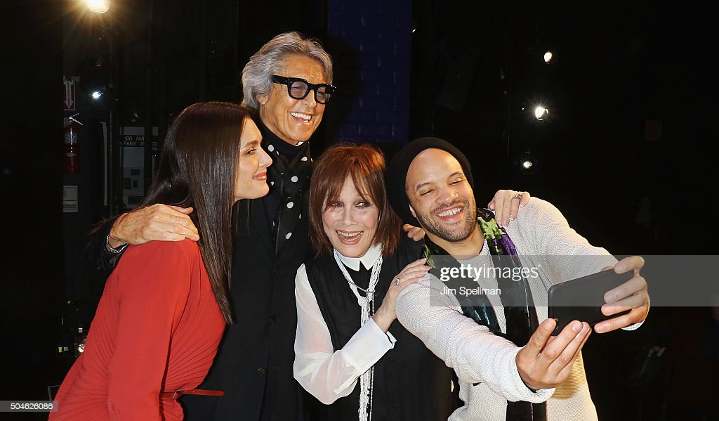 Actress Brooke Shields, dancer Tommy Tune, actress Michele Lee and dancer Savion Glover attend the curtain call for the 'Maurice Hines Tappin' Thru Life' opening night at New World Stages on January 11, 2016 in New York City.