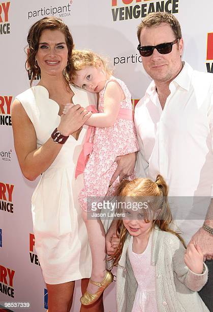 Actress Brooke Shields daughter Grier Henchy husband Chris Henchy and daughter Rowan Henchy attend the premiere of 'Furry Vengeance' at Mann Bruin...