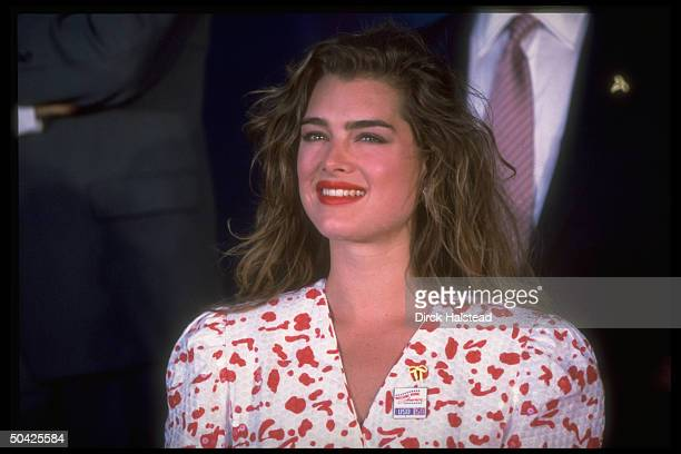 Actress Brooke Shields during taping of USO 50th anniv TV special Welcome Home America