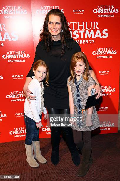 Actress Brooke Shields Grier Hammond Henchy and Rowan Francis Henchy attend the 'Arthur Christmas' premiere at the Clearview Chelsea Cinemas on...
