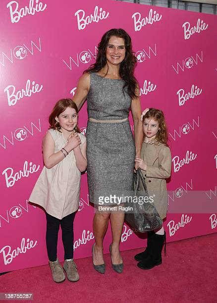 Actress Brooke Shields Rowan Henchy and Grier Henchy attend the Barbie The Dream Closet event during MercedesBenz Fashion Week at David Rubenstein...