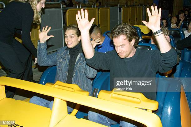 Actress Brooke Shields with writer/producer boyfriend Chris Henchy get ready to ride Goliath a roller coaster at Six Flags Magic Mountain March 29...