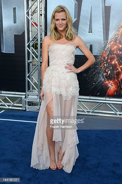 Actress Brooklyn Decker arrives at the Premiere Of Universal Pictures' 'Battleship' at The Nokia Theatre LA Live on May 10 2012 in Los Angeles...
