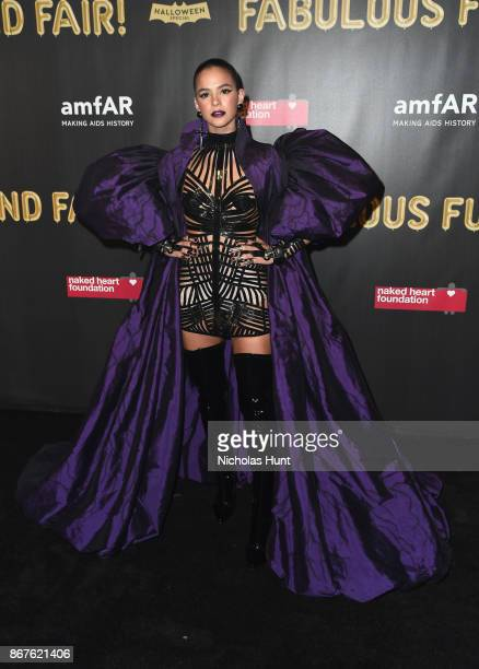 Actress Bruna Marquezine attends the 2017 amfAR The Naked Heart Foundation Fabulous Fund Fair at Skylight Clarkson Sq on October 28 2017 in New York...