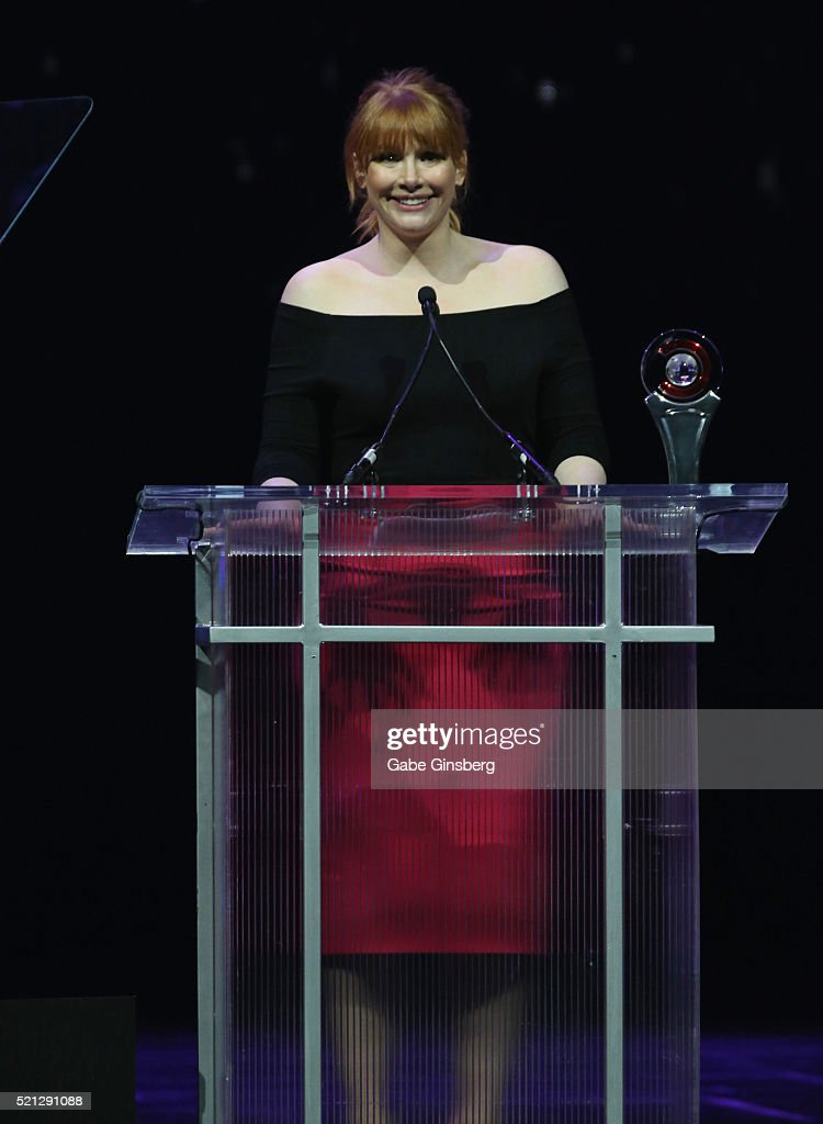 Actress Bryce Dallas Howard accepts the Excellence in Acting Award during the CinemaCon Big Screen Achievement Awards at The Colosseum at Caesars...
