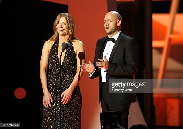 Actress Bryce Dallas Howard and CEO of Spotify Daniel Ek speak onstage during the 2017 Breakthrough Prize at NASA Ames Research Center on December 4...