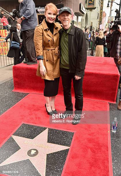 Actress Bryce Dallas Howard and director Ron Howard attend a ceremony honoring Ron Howard with the 2568th Star on The Hollywood Walk of Fame on...