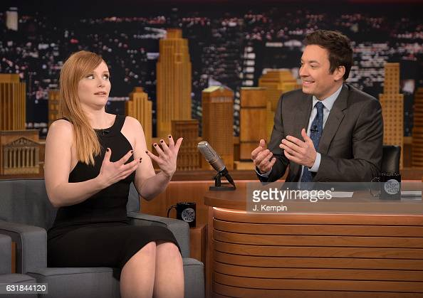 Actress Bryce Dallas Howard and host Jimmy Fallon visit 'The Tonight Show Starring Jimmy Fallon' at Rockefeller Center on January 16 2017 in New York...