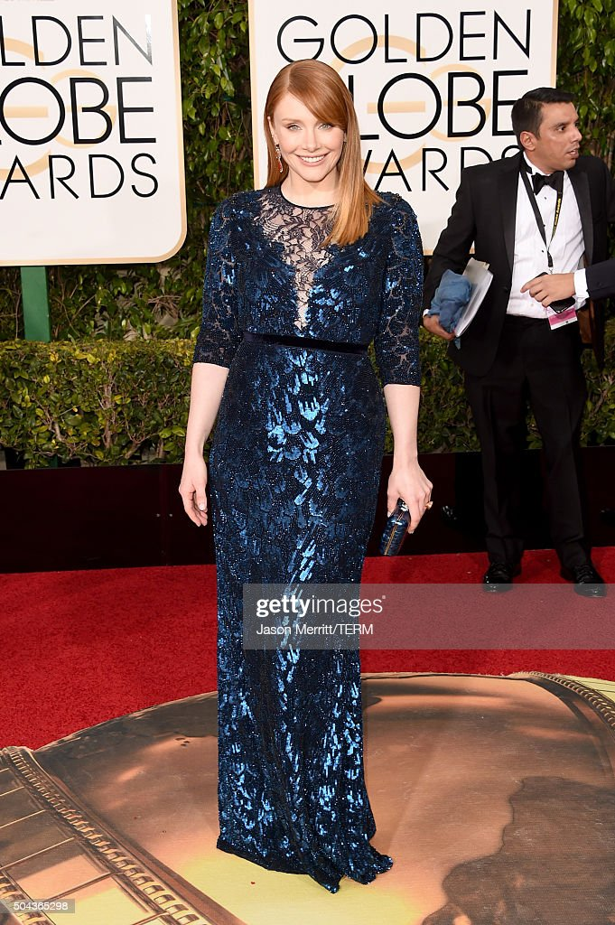 Actress Bryce Dallas Howard attends the 73rd Annual Golden Globe Awards held at the Beverly Hilton Hotel on January 10 2016 in Beverly Hills...