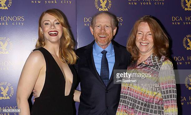 Actress Bryce Dallas Howard director Ron Howard and actress Cheryl Howard attend the DGA Honors Gala 2015 at the DGA Theater on October 15 2015 in...