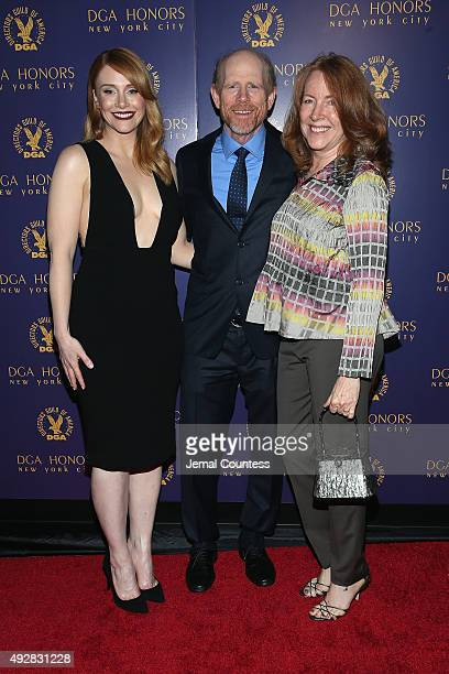 Actress Bryce Dallas Howard director Ron Howard and Cheryl Howard attend the DGA Honors 2015 Gala on October 15 2015 in New York City