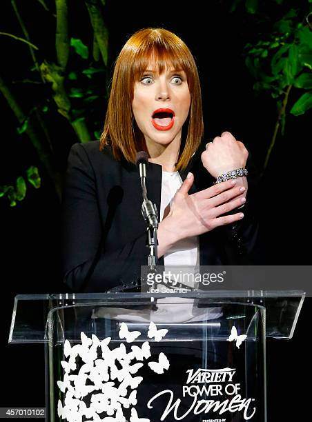 Actress Bryce Dallas Howard speaks onstage at 2014 Variety Power of Women presented by Lifetime at Beverly Wilshire Four Seasons on October 10 2014...