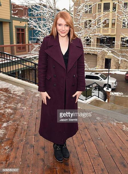 Actress Bryce Dallas Howard wears Sorels around Park City on January 24 2016 in Park City Utah