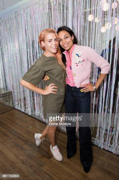 Actress Busy Philipps and actress Rosario Dawson attend 'Super Deluxe and Sarah Ramos present a live reading of City Girl' on June 2 2017 in Los...