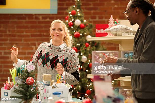 Actress Busy Philipps and rapper Snoop Dogg behind the scenes of Making with Michaels on November 1 2016 in Los Angeles California