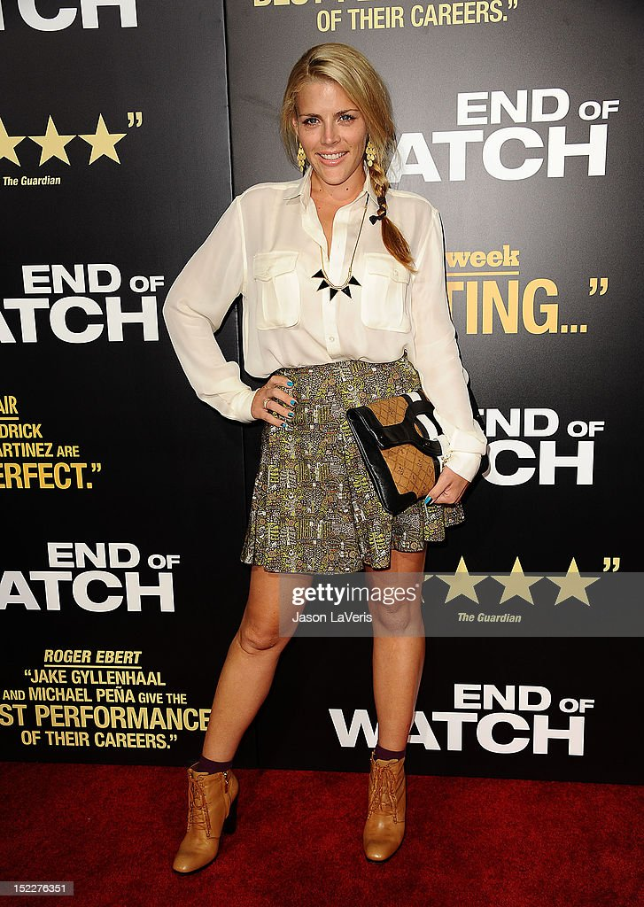 Actress <a gi-track='captionPersonalityLinkClicked' href=/galleries/search?phrase=Busy+Philipps&family=editorial&specificpeople=216133 ng-click='$event.stopPropagation()'>Busy Philipps</a> attends the premiere of 'End of Watch' at Regal Cinemas L.A. Live on September 17, 2012 in Los Angeles, California.