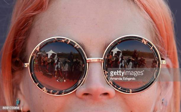 Actress Busy Philipps sunglasses detail arrives at PS ARTS' Express Yourself 2017 at Barker Hangar on October 8 2017 in Santa Monica California