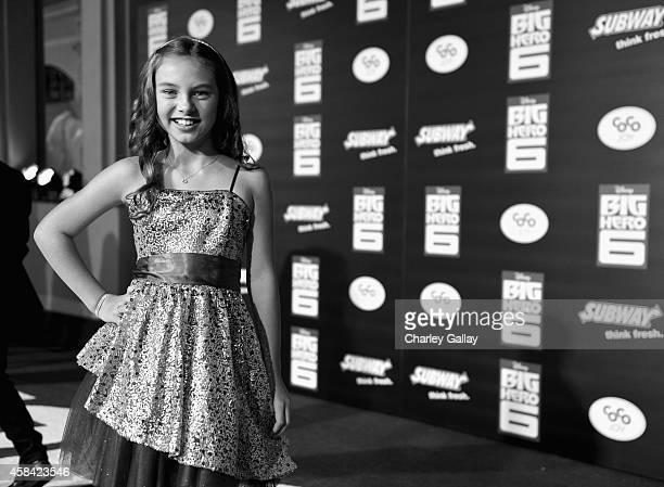 "Actress Caitlin Carmichael attends the Los Angeles Premiere of Walt Disney Animation Studios' ""Big Hero 6' at El Capitan Theatre on November 4 2014..."