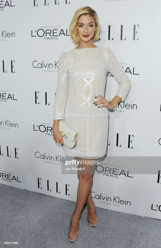 Actress Caitlin FitzGerald arrives at ELLE Celebrates 20th Annual Women In Hollywood Event at Four Seasons Hotel Los Angeles at Beverly Hills on October 21, 2013 in Beverly Hills, California.