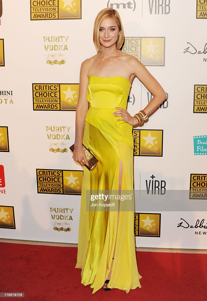 Actress Caitlin FitzGerald arrives at the BTJA Critics' Choice Television Award at The Beverly Hilton Hotel on June 10, 2013 in Beverly Hills, California.