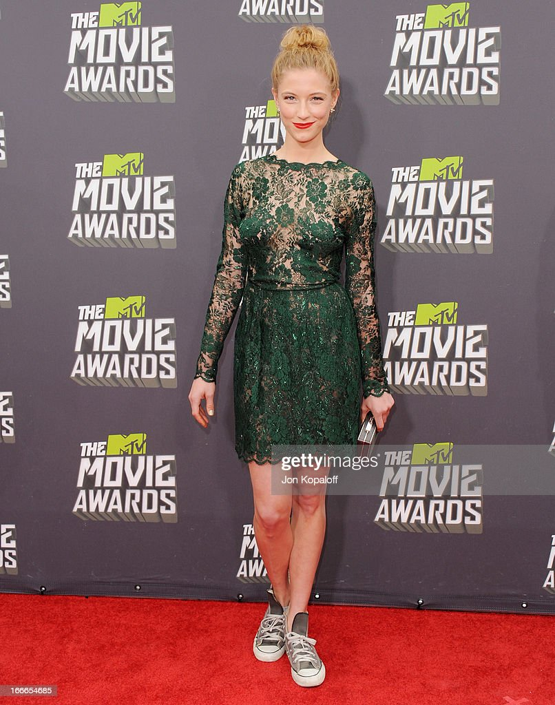 Actress Caitlin Gerard arrives at the 2013 MTV Movie Awards at Sony Pictures Studios on April 14, 2013 in Culver City, California.
