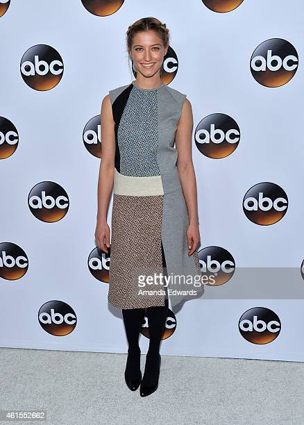 Actress Caitlin Gerard arrives at the ABC TCA 'Winter Press Tour 2015' Red Carpet on January 14 2015 in Pasadena California