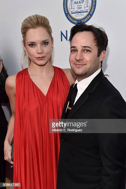 Actress Caitlin Mehner and producer Danny Strong attend the 47th NAACP Image Awards presented by TV One at Pasadena Civic Auditorium on February 5...