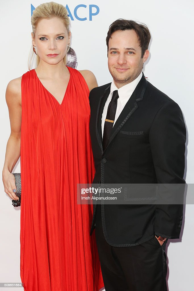 Actress Caitlin Mehner (L) and producer Danny Strong attends the 47th NAACP Image Awards presented by TV One at Pasadena Civic Auditorium on February 5, 2016 in Pasadena, California.