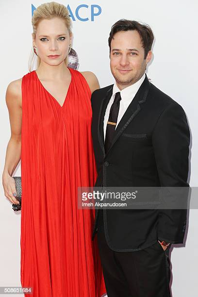 Actress Caitlin Mehner and producer Danny Strong attends the 47th NAACP Image Awards presented by TV One at Pasadena Civic Auditorium on February 5...