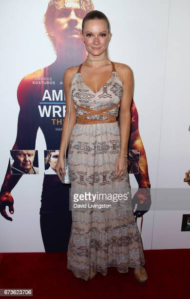 Actress Caitlin O'Connor attends the premiere of Warner Bros Home Entertainment's 'American Wrestler The Wizard' at Regal LA Live Stadium 14 on April...
