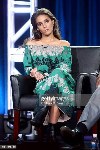 Actress Caitlin Stasey of the television show 'APB' speaks onstage during the FOX portion of the 2017 Winter Television Critics Association Press...