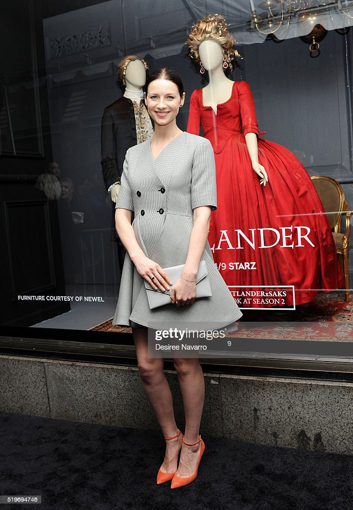 Actress Caitriona Balfe attends Saks Fifth Avenue 'Outlander' Window Display Unveiling at Saks Fifth Avenue on April 7, 2016 in New York City.