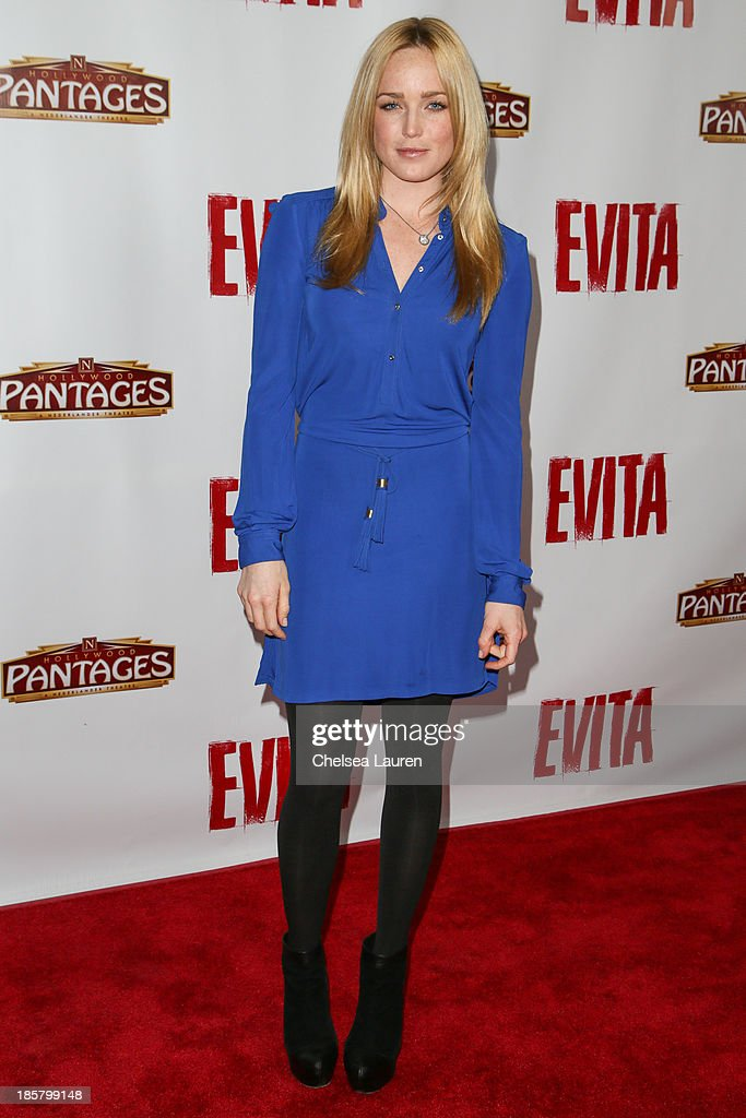 Actress Caity Lotz arrives at the opening night red carpet for 'Evita' at the Pantages Theatre on October 24, 2013 in Hollywood, California.