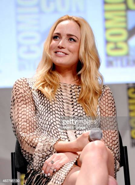 Actress Caity Lotz attends Warner Bros Television DC Entertainment world premiere presentation during ComicCon International 2014 at San Diego...