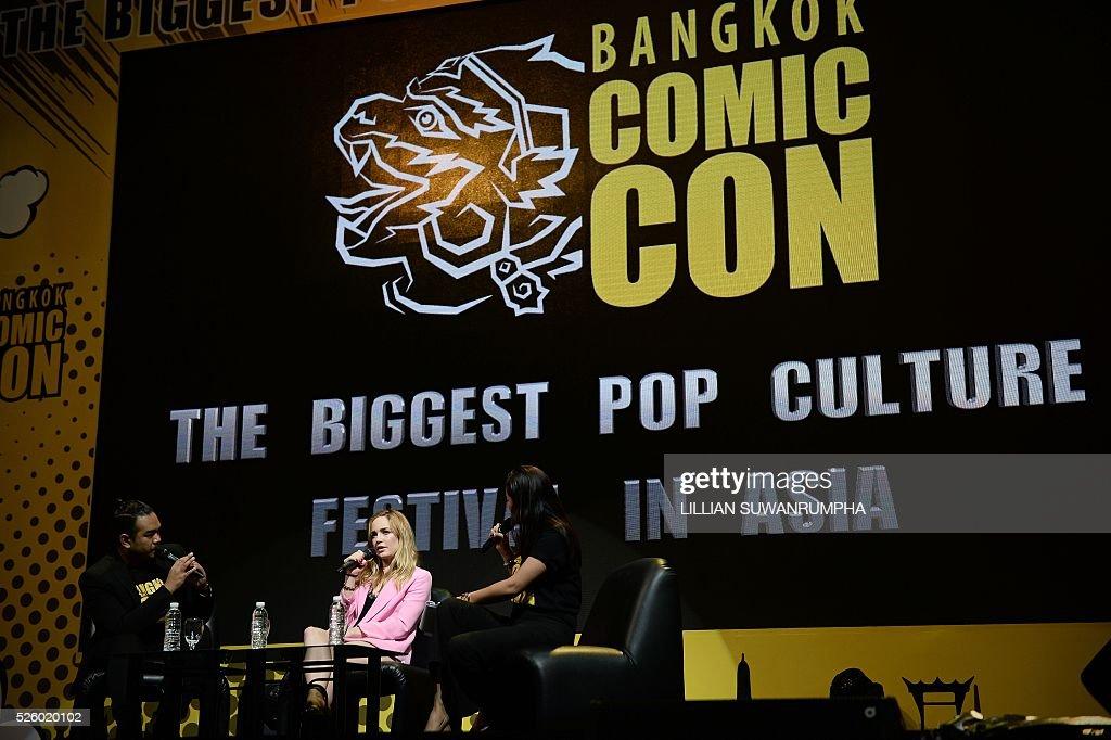 US Actress Caity Lotz speaks during an interview at Bangkok Comic Con in Bangkok on April 29, 2016. / AFP / LILLIAN