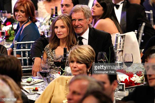 Actress Calista Flockhart and actor Harrison Ford in the audience during the 38th AFI Life Achievement Award honoring Mike Nichols held at Sony...