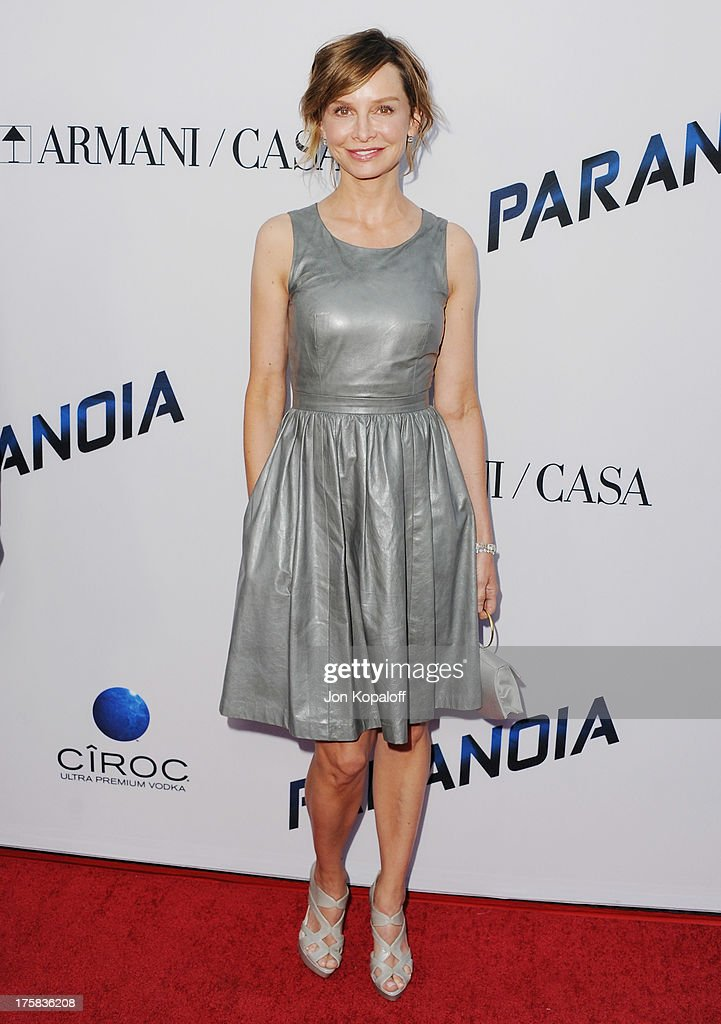 Actress <a gi-track='captionPersonalityLinkClicked' href=/galleries/search?phrase=Calista+Flockhart&family=editorial&specificpeople=204604 ng-click='$event.stopPropagation()'>Calista Flockhart</a> arrives at the Los Angeles Premiere 'Paranoia' at DGA Theater on August 8, 2013 in Los Angeles, California.